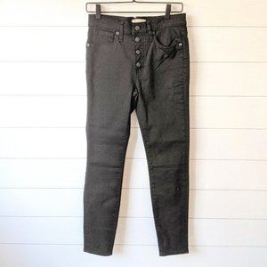 """Madewell 9"""" Mid-Rise Black Button Fly Jeans 27"""